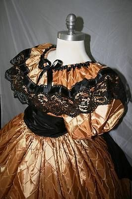 Vestido de fiesta Custom-USA-Oro Negro-Guerra Civil-tafetán-Formal-Recreación Cualquier Tamaño Nuevo