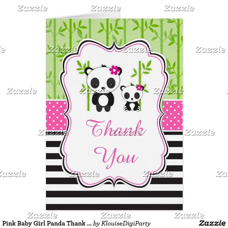 Pink Baby Girl Panda Thank You Card