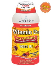 Wellesse Liquid Vitamin D3 1000 IU Fast Absorbing for your bone and immune health