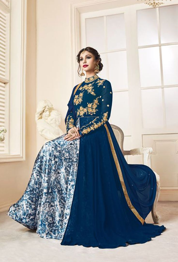 Navy Blue Georgette Wedding Achkan Style Salwar Suit #bridal #bridalwear #bridalsalwarsuit #bridalsalwarkameez #salwarsuitonline #salwarkameezonline #dress #onlineindiandress #sale#nikvik #freeshipping #usa #australia #canada #newzeland #Uk #UAE