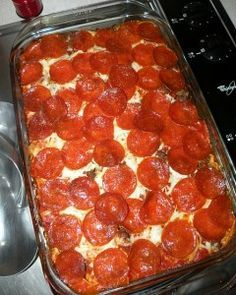 Pizza Casserole - 2 cans pasta sauce (I used Classico with red pepper and garlic) -1 12oz bag egg noodles -Italian sausage -cheese -pepperoni You just layer everything like lasagna except the pepperoni (noodles should be cooked first). Sauce, noodles, sausage, cheese, more sauce, and repeat. Add more cheese and pepperoni on top and bake