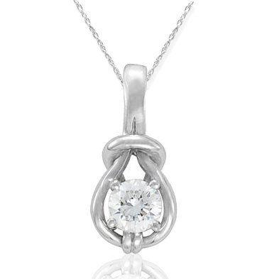 1/3 CT Real Diamond Solitaire Everlong Knot Round Pendant 14K White Gold Karat Pompeii3 Inc.. $299.00