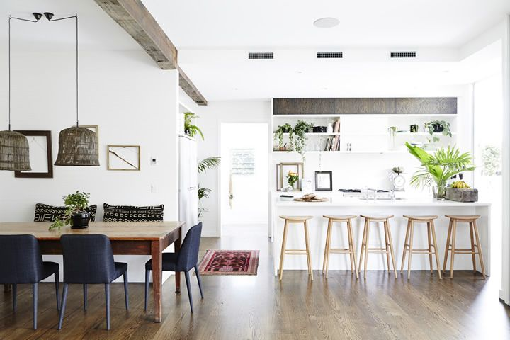 Could make exposed beam grey and have some elements of this in the kitchen and/ or other furniture