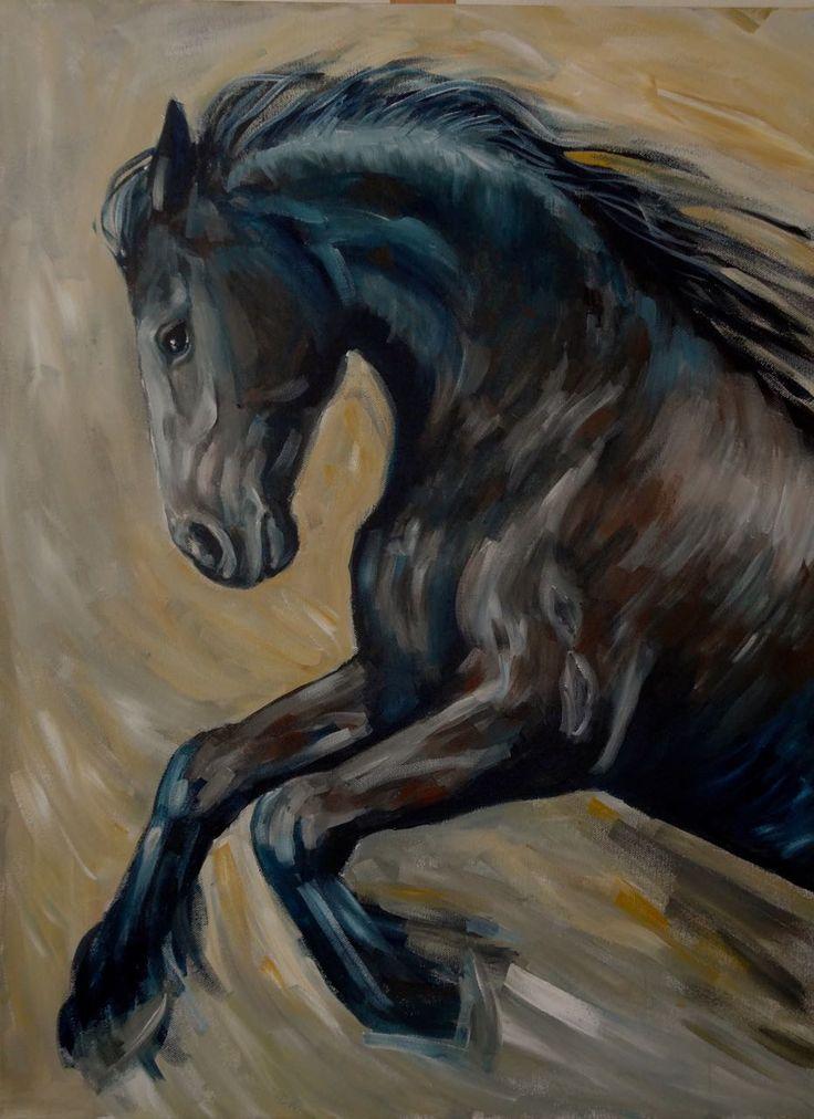Schilderij zwart Fries paard | Schilderijen in 2019 ...