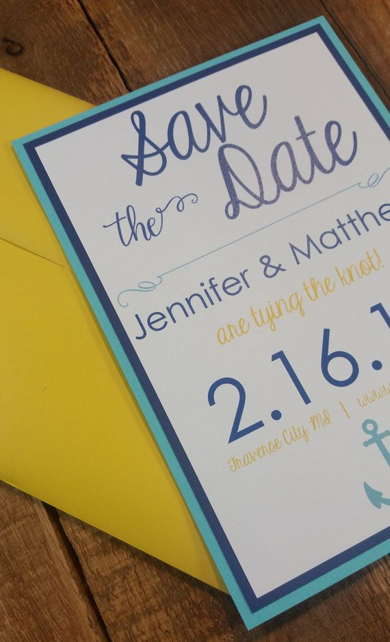 Nautical Save the Date Anchored In Love by HappyHeartInvites