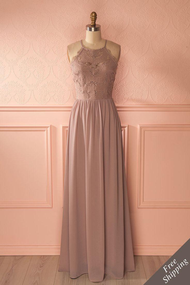 Halley Moon - Grey maxi bridesmaid dress www.1861.ca