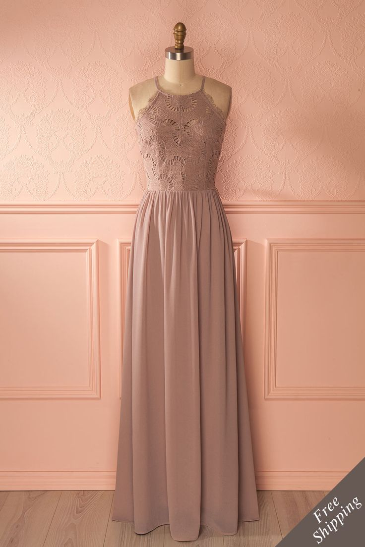 Halley Moon - Grey maxi bridesmaid dress www.1861.ca