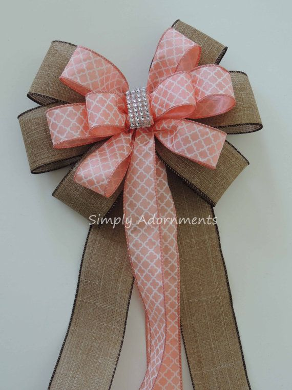 Rustic Burlap Coral Wedding Pew Bow by SimplyAdornments