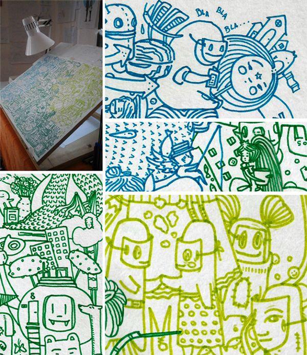 Sopa de personajes::Máscaras y Agua Dibujando durante las noches antes de dormir. Fibras de colores sobre papel. Formato 35X50 cm. Julio 2015.