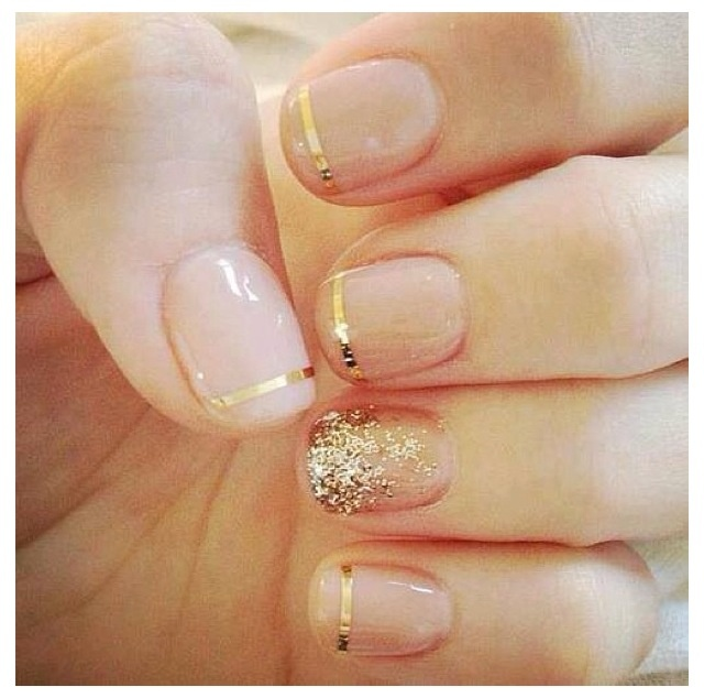 110 best nails images on pinterest nail design nail decorations short square natural nude color nails with gold stripe accent prinsesfo Images