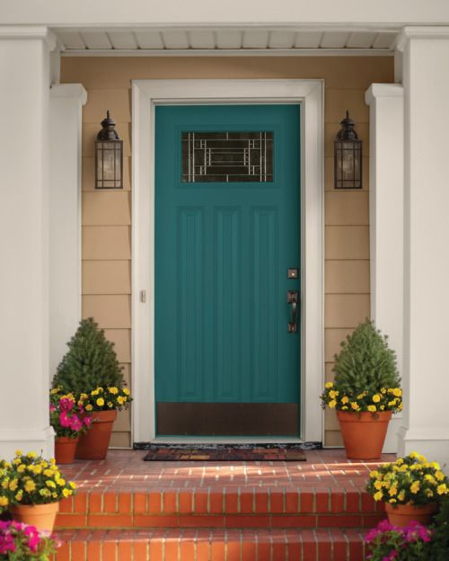 Fall is a great time to freshen up the front of the house. Paint the door a fun color, change out the hardware or add a kick plate, set out a fun welcome mat and fill your porch or stoop with planters...