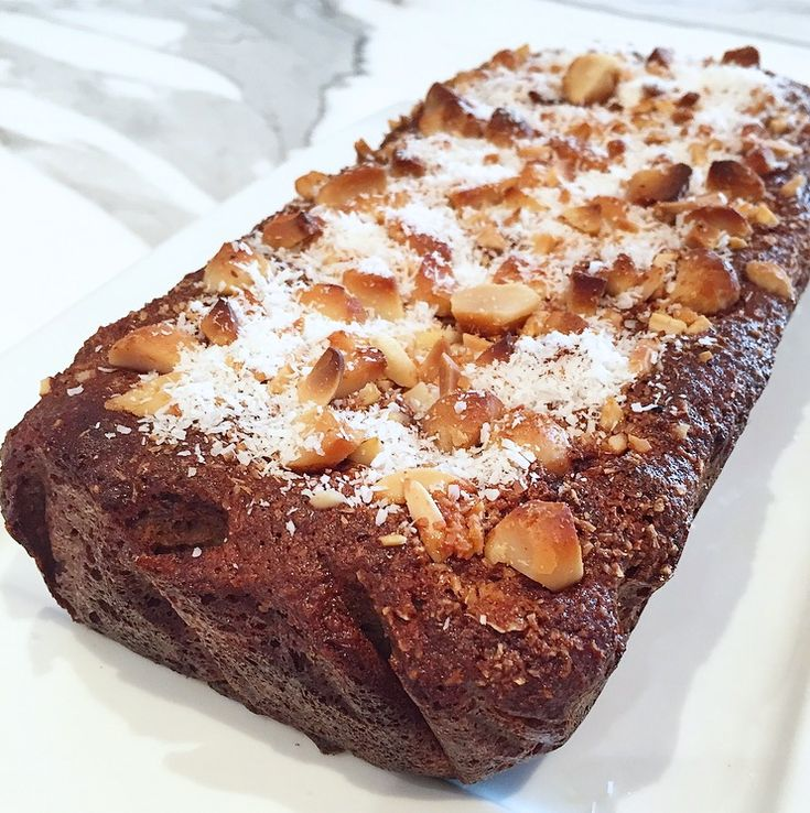 Banana & Date Loaf With Crunchy Macadamia, Almond & Coconut Topping