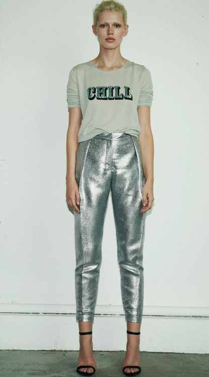 Chilling in metallics.- i like the concept of this outfit...