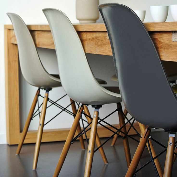 Classic Eames style chair.Modern Winter Luxe Neutral Naturals, select from complimentary tones of Vanilla, Soft Dove Grey, Taupe, Charcoal Made to order with either a metal or wooden chair base and your choice of coloured seat.Eames inspired iconic DSW chair. Originally made in fibreglass by Charles and Ray Eames, winning the 1950 MOMA Low Cost Furniture design competition. The DSW chair is known as the first industrially manufactured chair with a moulded seat to fit every body. The replica…