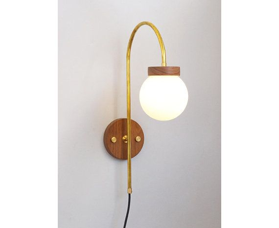 Plug In Wall Light With Arc Arm Bedside Midcentury Sconce Brass Wood And Glass Globe Wall Mounted Lamp W Plug In Wall Lights Wall Lights Plug In Wall Sconce Wall mounted plug in light