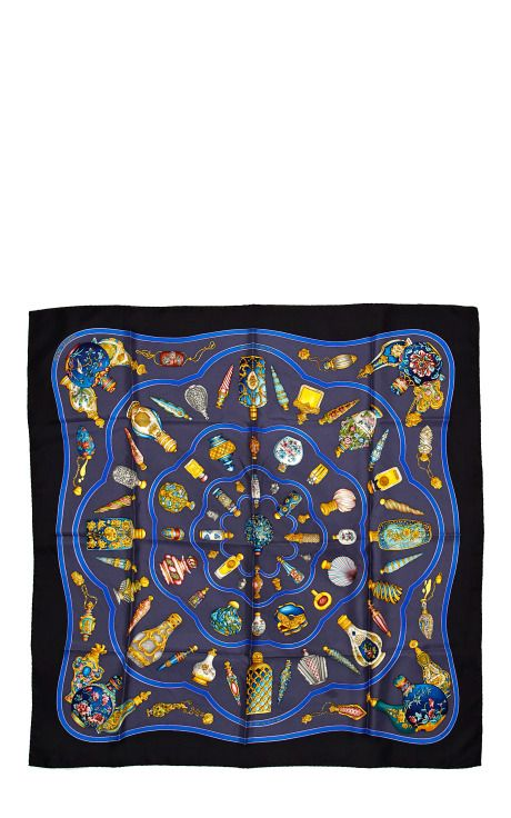 "90cm Hermes ""Qu'Import le Flacon,"" by Catherine Baschet Perfume Silk Scarf"