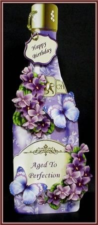 Vintage Violets Bottle Shaped Card on Craftsuprint designed by Robyn Cockburn - made by Rae Trees -http://www.craftsuprint.com/card-making/mini-kits/mini-kits-floral/?&designer=123&r=796943