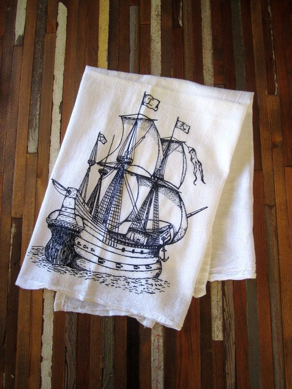 Tea Towel - Screen Printed Organic Cotton Nautical Flour Sack Towel - Soft and Absorbent Kitchen Towel - Pirate Ship - Eco Friendly