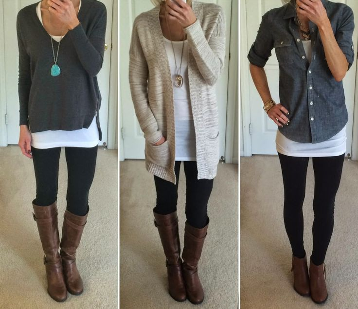nice Trendy Clothes: Astonishing Outfit With Black Leggings Plus Cognac And Brown Bootsts, Amazing Outfit, Leggings For Casual Outfits
