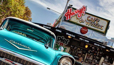 Our Deal - $5 for ANY pie or hot dog   can of drink/bottle of water at the newly opened Harry's Cafe De Wheels Broadway. 15 mouth-watering options to choose from. Available 7 days with no bookings required!