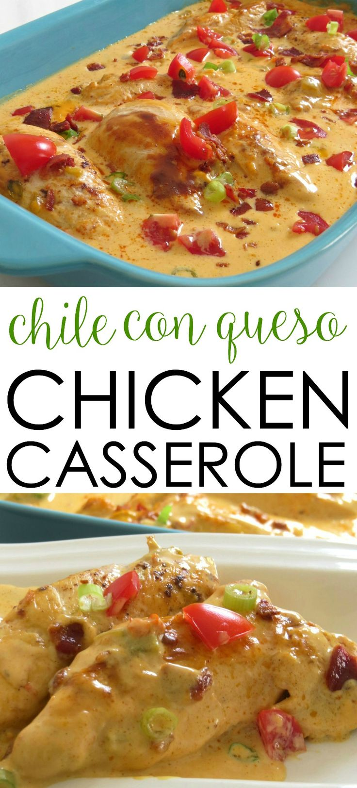 This easy chicken casserole recipe is a crowd-pleasing favorite! It's filled with Tex Mex flavors and covered in cheese. Chile Con Queso Chicken Casserole