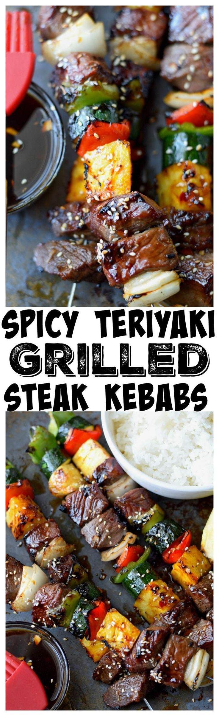 Spicy Teriyaki Grilled Steak Kebabs are so full of flavor, loaded with veggies and tender juicy meat, super easy to make.