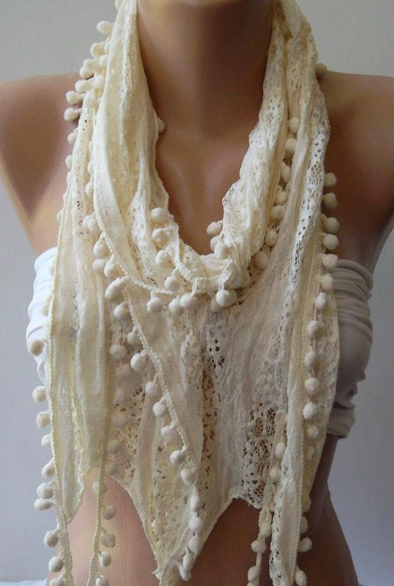 Elegant / Ivory Beige  Lace and Elegance Shawl by womann on Etsy, $15.90