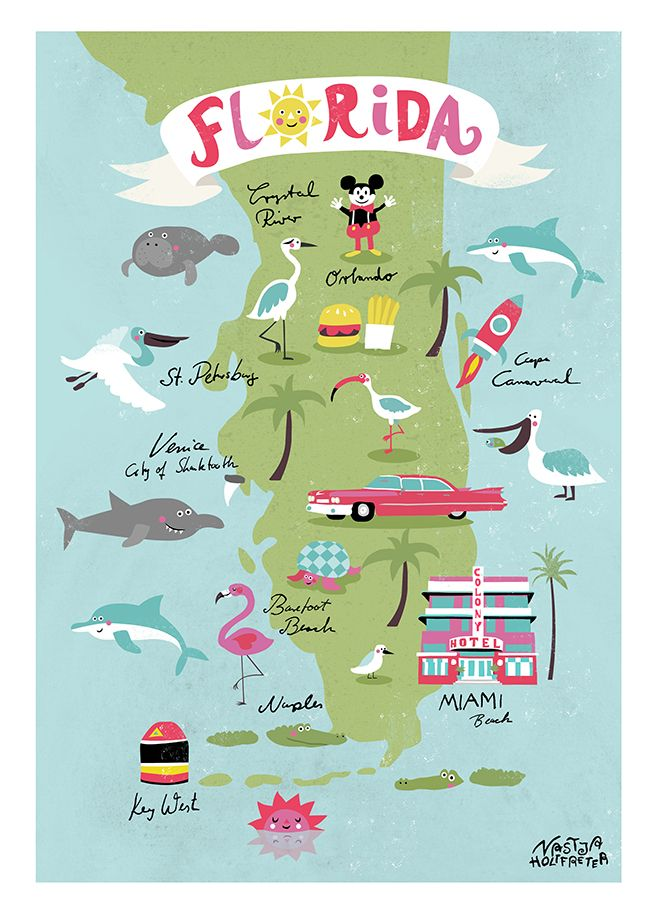 Nastja Holtfreter Travel Map of Florida USA | Carte illustrée de la Floride USA