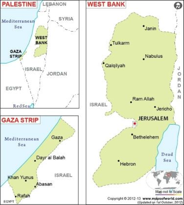 "Palestine (is ""in Israel"") territories, remaining includes the West Bank and Gaza Strip. These two territories are claimed by the State of Palestine."