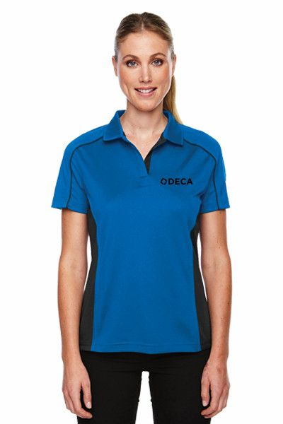 Ladies' Blue and Black Colorblock Polo