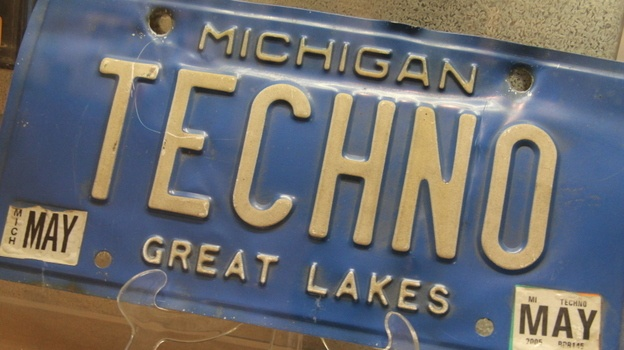 Get Familiar With Detroit Techno: 10 Essential Songs- A Michigan license plate on exhibit at the techno museum run by Submerge and housed in the label's building.