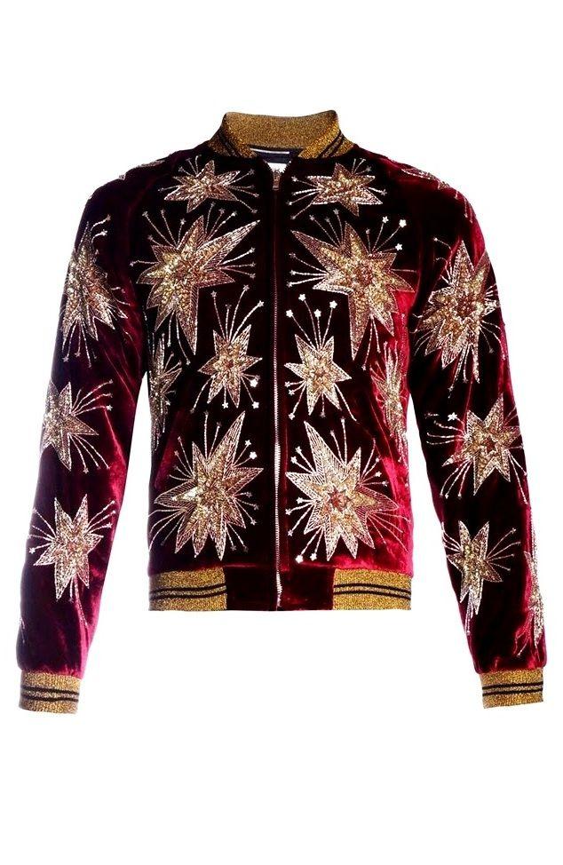 Saint Laurent Men's Red Velvet Star Embroidered Bomber Jacket │Represented By Harry Styles, Keith Richards