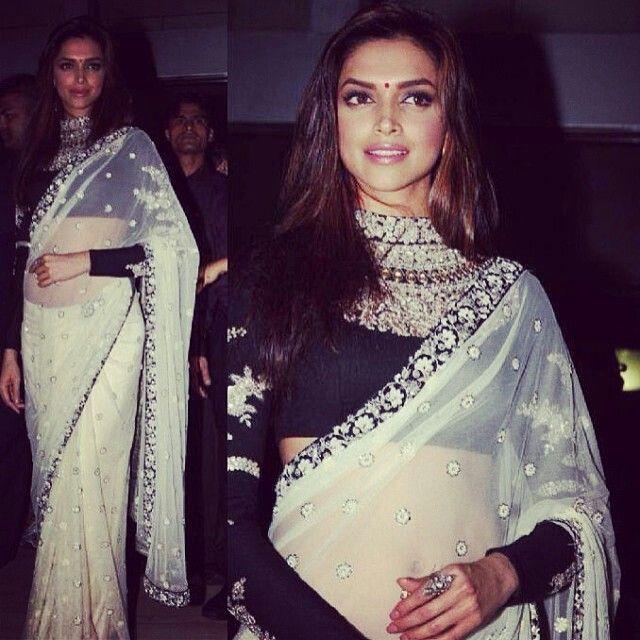 deepika padukone in saree and long sleeve blouse