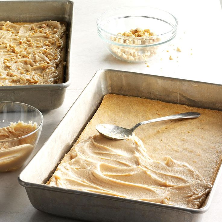 Peanut Bars Recipe -With peanut butter in both the batter and frosting, plus chopped nuts sprinkled on top, these treats have triple the goodness. —Ren Reed, Tavares, FL