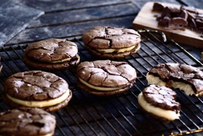 Peanut Butter Mascarpone Brownie Cookie Sandwiches by Burnt Butter Bakery