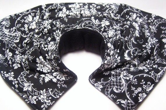 Neck Shoulder Heat Wrap, Neck Heat Wrap Pillow, Heating Pad, black and white.  I think I will try making one of these.