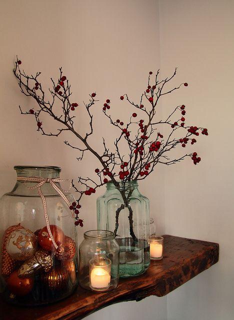 branches candles & glas - Zweige Kerzen & Glas