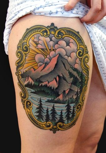 Not usually a landscape tattoo fan. But this is a beauty. Love the style.