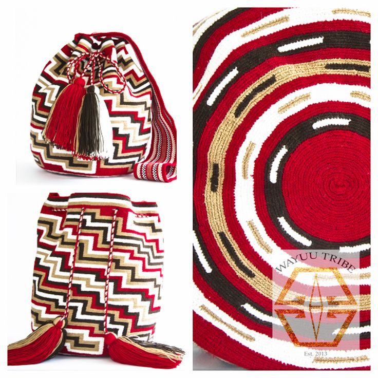 Visit www.Wayuutribe.com to see more Mochilas and boho bags styles. These bags are known as the Susu bag to the Wayuu people. The average bag takes 10-20 days to hand weave. All bags are Handmade. Wayuu people are use bight different colors and patterns to tell the story of the weaver. These are all one-of-kind bags. Wayuu tribe bags are $148.00. They are woven with cotton thread. A nice beach bag or farmer bag that is very sturdy. #boho #HANDMADE