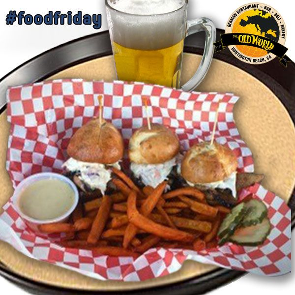 It's Food Friday! Our own Chef Bryce won 1st prize for his DELICIOUS Flat Iron Pork Sliders at Taste of HB! Served with sweet potato fries & Chipotle mayo, this is gonna make your tummy happy!   #oldworldhb #oldworld #hb #ocfood #ocfoodie #foodlover #goodfood #ocfoodplaces #bestocfood #foodfriday #fridays #fotd Taste of Huntington Beach     Located at 7561 Center Ave. #49 Huntington Beach, CA 92647