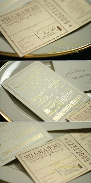 Mint and Gold wedding invites