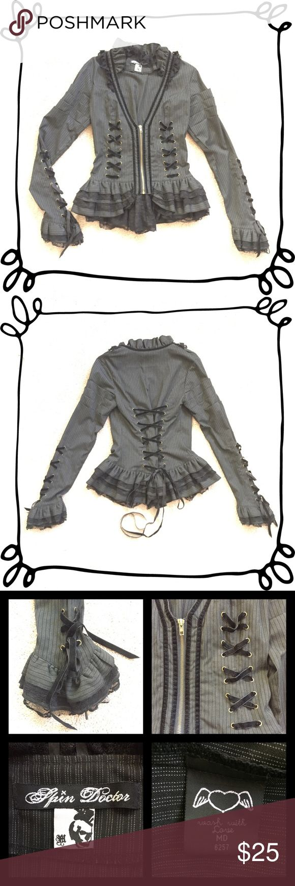 Spin Doctor corset-laced jacket Only worn once! Sexy black pinstripe jacket with zip front and lace edging around collar and sleeves. Back and sleeves feature corset style lacing in black velvet ribbon. Lightweight and comfortable for the hottest concerts! Spin Doctor Jackets & Coats