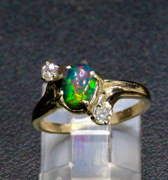 beautiful solid black opal with diamond engagement ring - Black Opal Wedding Rings