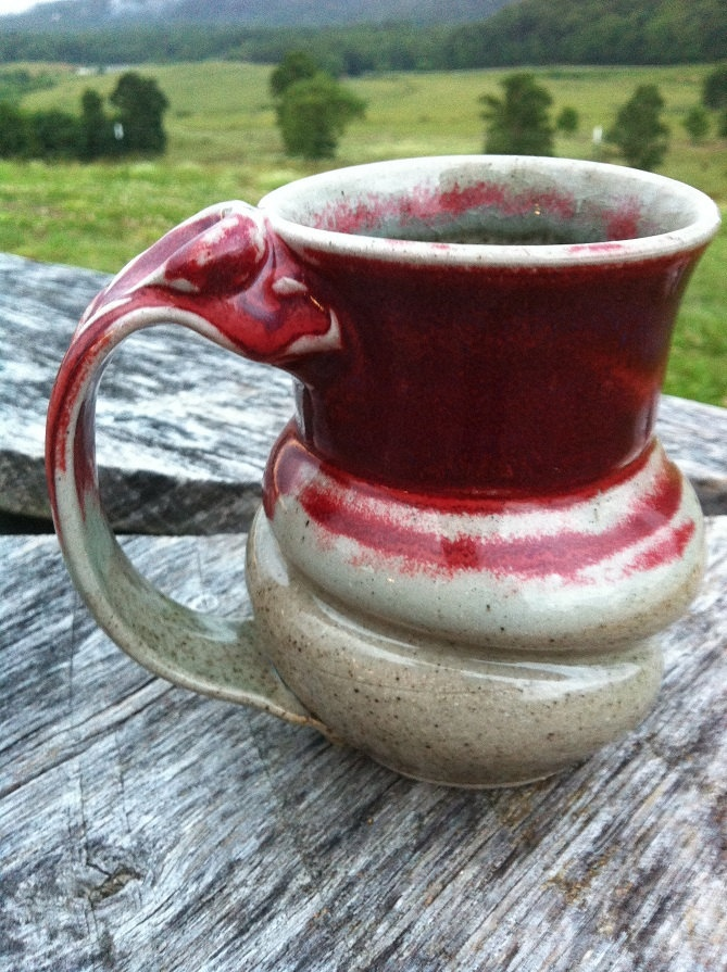 """Red Swirly Mug with thumb rest, hand thrown pottery, red and beige """"Red Celadon"""" glaze -"""