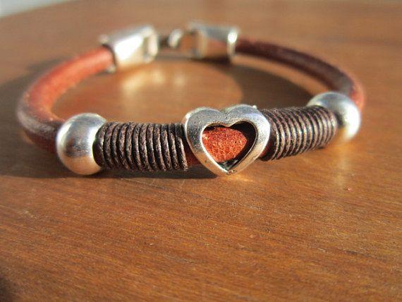 hart armband Boheemse armbanden lederen armband boho door kekugi
