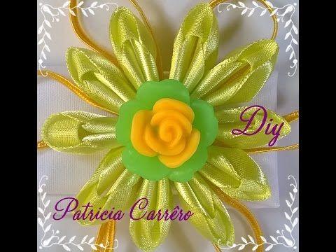 Faixa de cabeça com flor de fita com soutache DIY \ Headband with ribbon flower with soutache DIY - YouTube