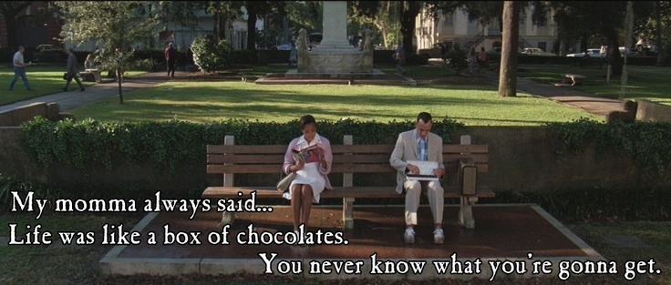 """A favorite and widely-used catch phrase from Forrest Gump:  """"Life was like a box of chocolates.  You never know what you're gonna get"""".    """"LIKE"""" our page Funny Movie Lines on Facebook by clicking on the picture!    #ForrestGump #FunnyMovieLines"""