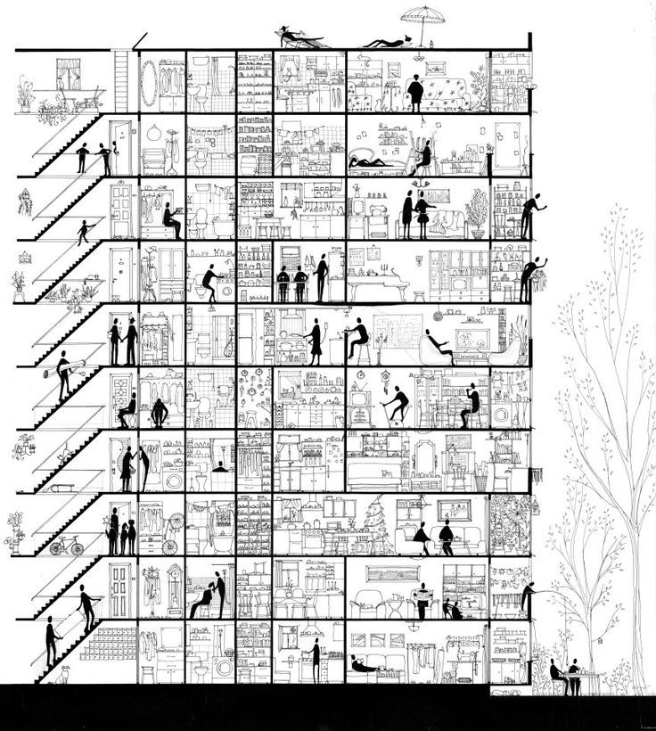 Life... Sectioned. A section drawing about an apartment building. The tenants all go about their lives, oblivious to the fact that there are more people around them. In a way, a snapshot of life. All of it.
