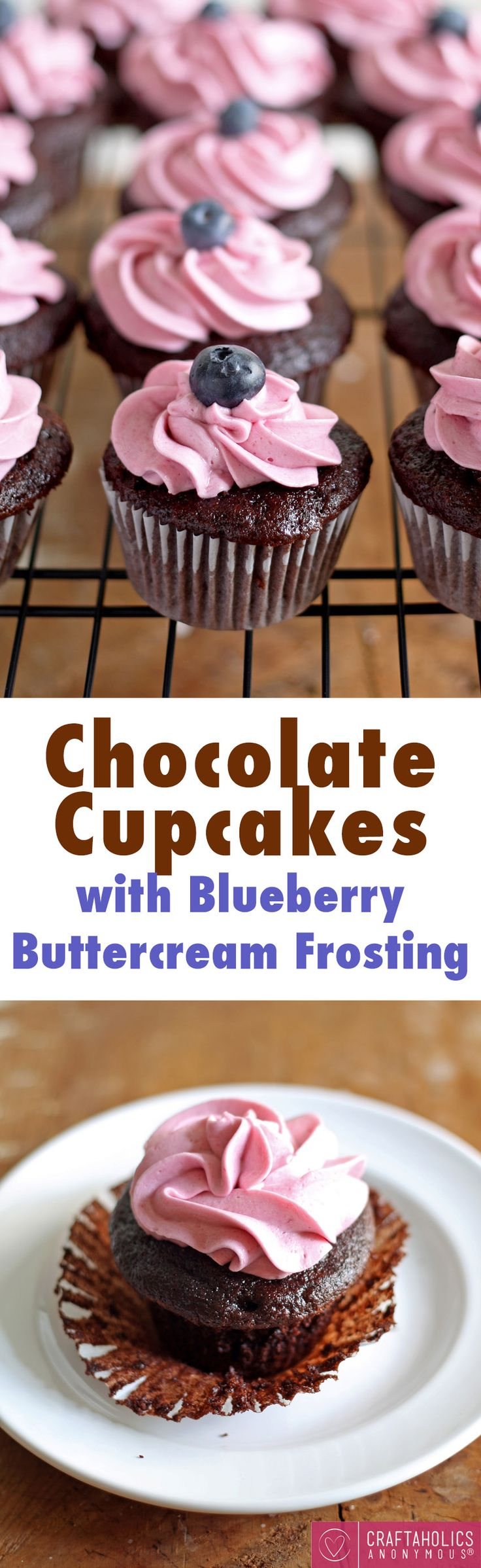 Chocolate Cupcakes with Blueberry Buttercream Frosting A Collection of the Best Cupcake Blogs. Get the Top Stories on Cupcake in your inbox