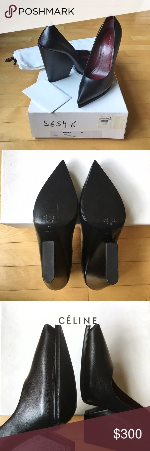 """Céline Black Pointed Wedge Pumps Size: 36; Céline pointed wedge pumps in supple black nappa leather on the exterior and burgundy nappa on the interior. The heel height is approx. 5"""". There's a sliver of discoloration on the left shoe near the inner edge (see 3rd photo), it was there when I bought it & you can potentially cover with shoe polish. Will ship with the original box, white Céline care card and shoe bag. One edge of the box is torn but otherwise, the shoes are pristine and never…"""
